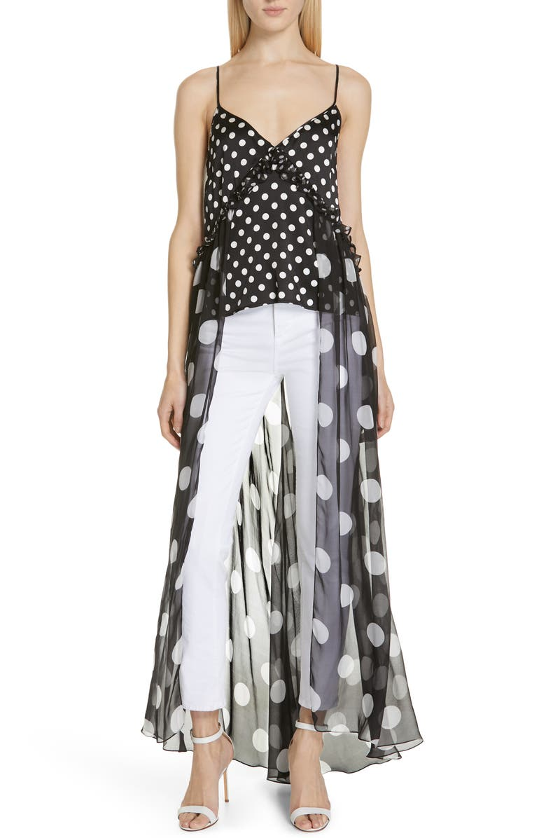CAROLINE CONSTAS Ainsley Polka Dot Silk Cape Tank, Main, color, 001
