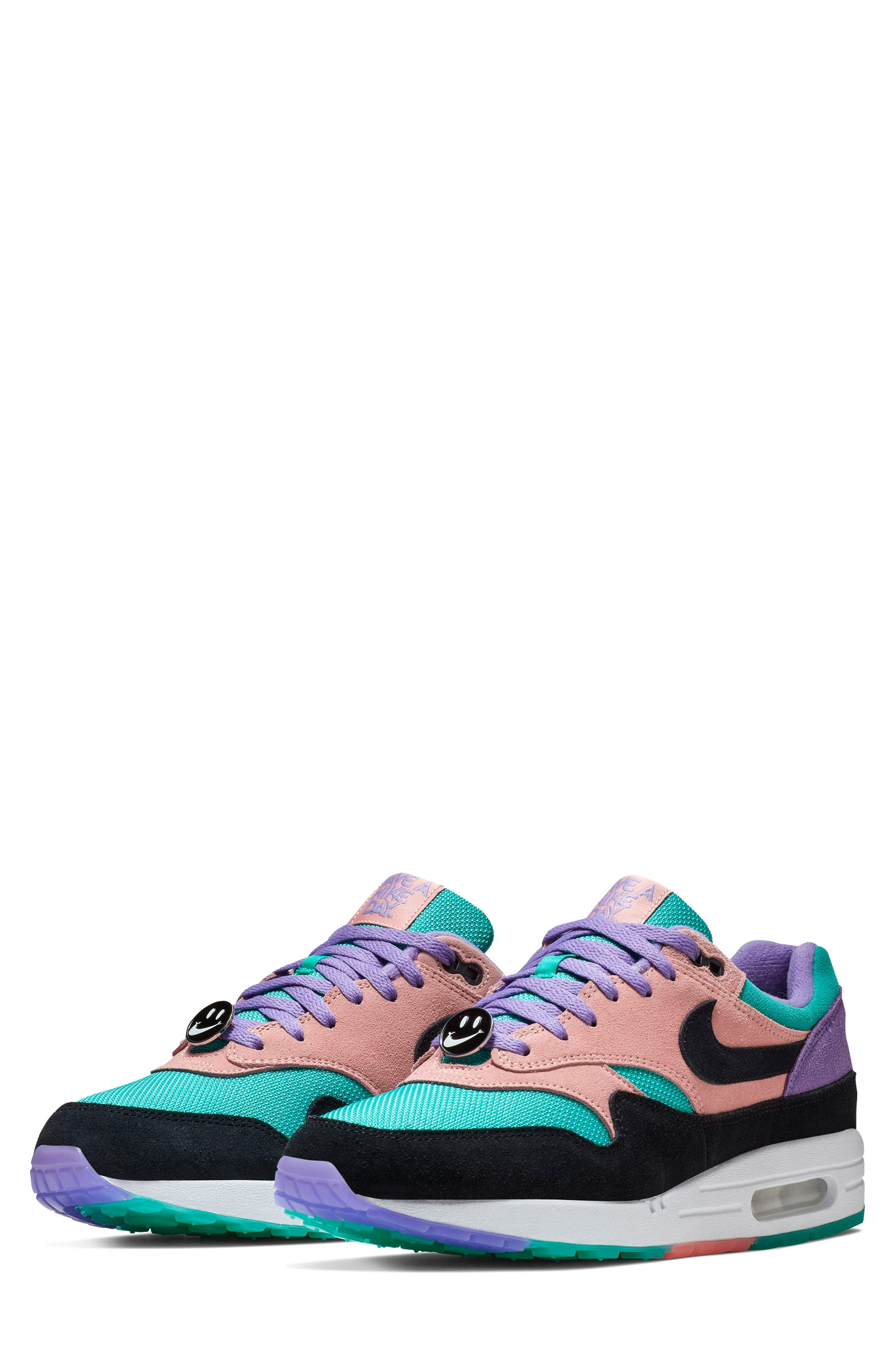 ,                             Air Max 1 Have a Nike Day Sneaker,                             Main thumbnail 1, color,                             SPACE PURPLE/ BLACK/ CORAL