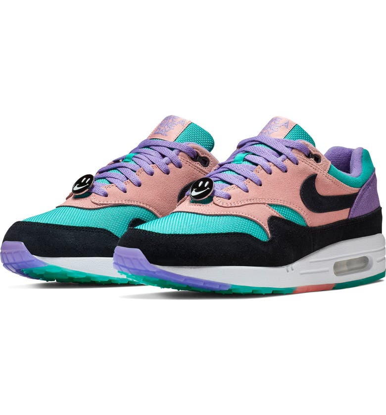 NIKE Air Max 1 Have a Nike Day Sneaker, Main, color, SPACE PURPLE/ BLACK/ CORAL