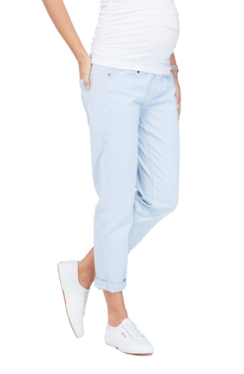 ISABELLA OLIVER Relaxed Boyfriend Maternity Jeans, Main, color, SOFT BLUE WASH