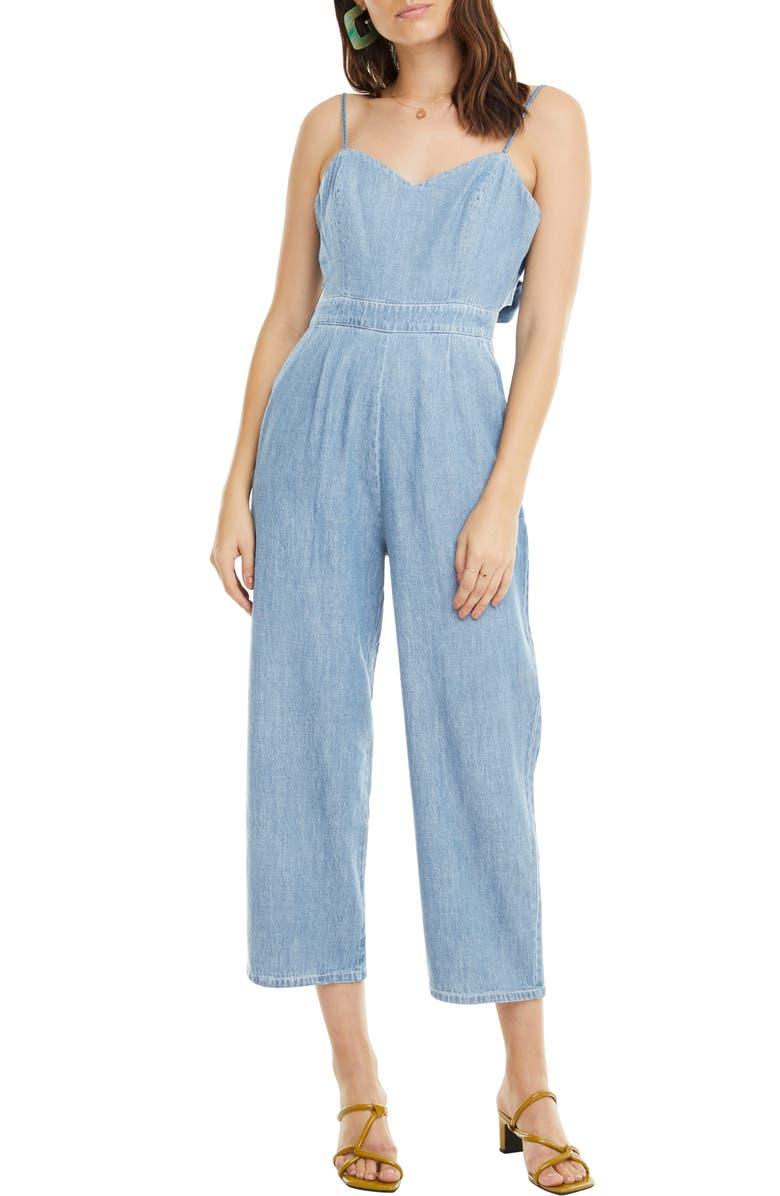 ASTR THE LABEL Edie Tie Back Cotton Denim Jumpsuit, Main, color, 400