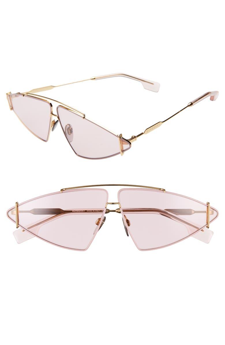 BURBERRY 68mm Oversize Aviator Sunglasses, Main, color, 710