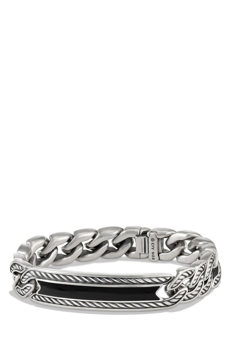 DAVID YURMAN 'Maritime' Curb Link ID Bracelet, Main, color, SILVER/ BLACK ONYX