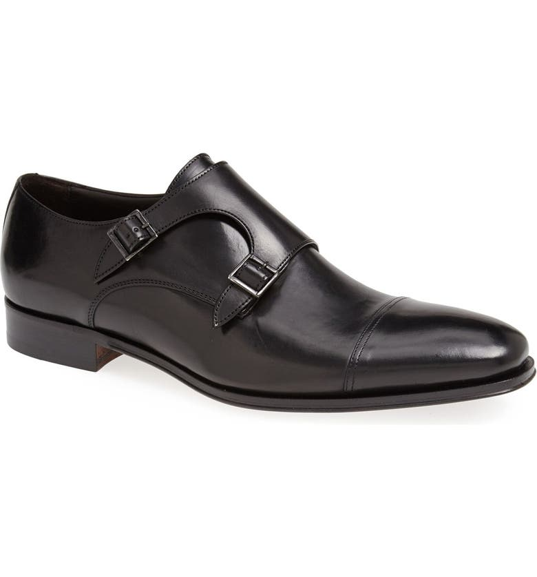 TO BOOT NEW YORK 'Grant' Double Monk Shoe, Main, color, BLACK CALFSKIN