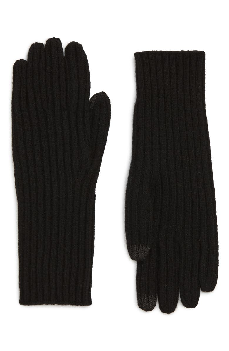 MADEWELL Ribbed Texting Gloves, Main, color, TRUE BLACK