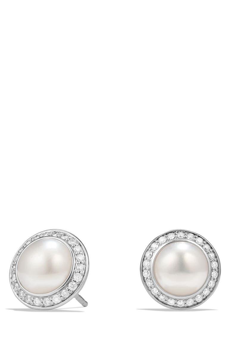 DAVID YURMAN 'Cerise' Petite Earrings with Pearls and Diamonds, Main, color, SILVER/ PEARL