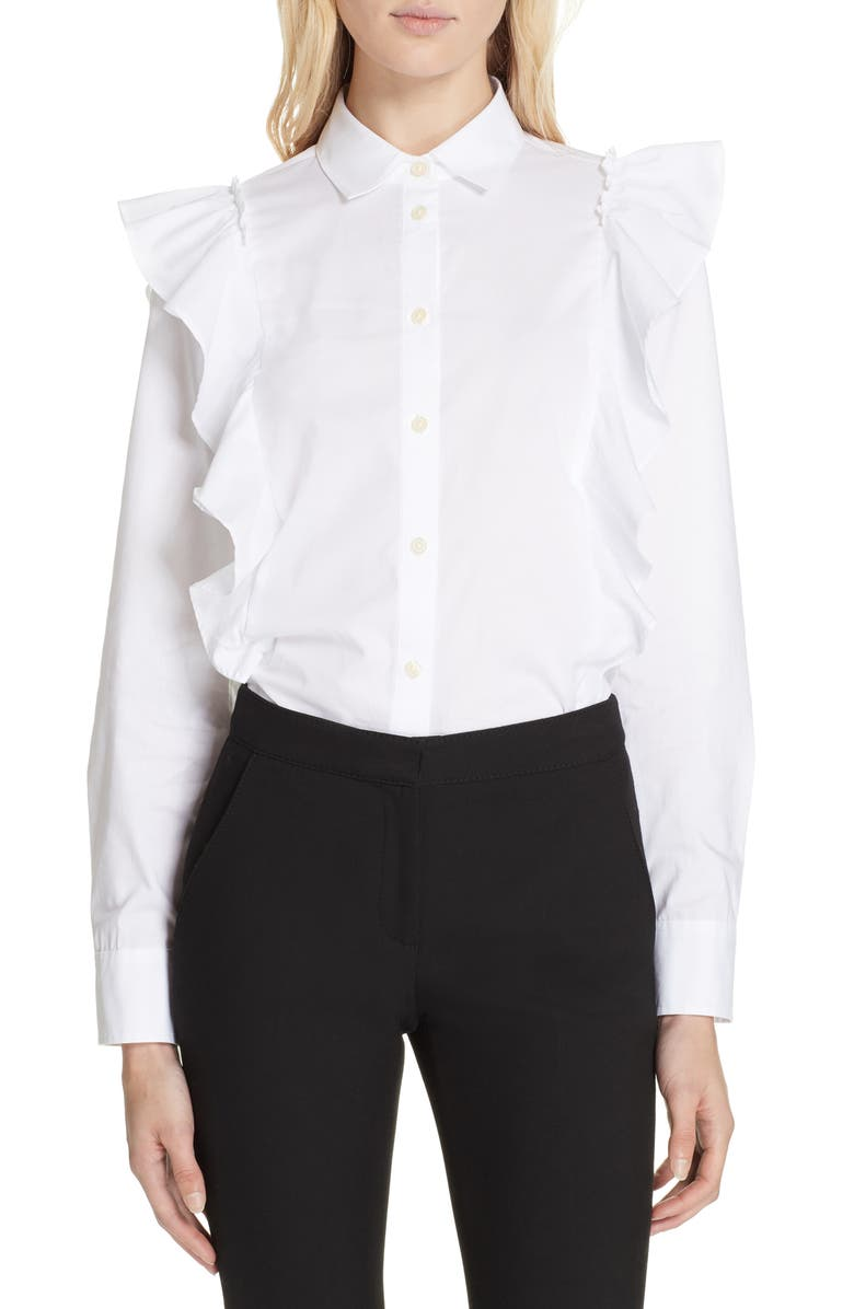 KATE SPADE NEW YORK ruffle poplin shirt, Main, color, 107