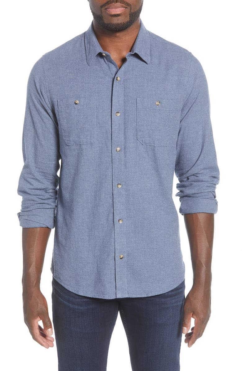 TRAVISMATHEW Travis Mathew Hefe Regular Fit Flannel Sport Shirt, Main, color, 401