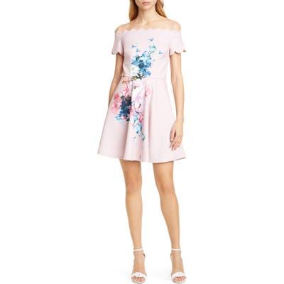 Ted Baker London Raspberry Floral Scallop Off The Shoulder Skater Dress, Pink