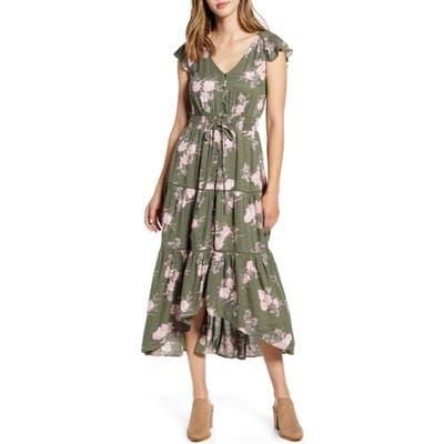 Lucky Brand Felice Tiered Ruffle Midi Dress, Green