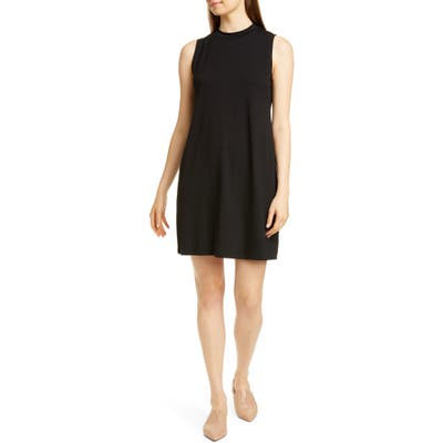 Petite Eileen Fisher Stretch Tencel Lyocell Shift Dress, Black