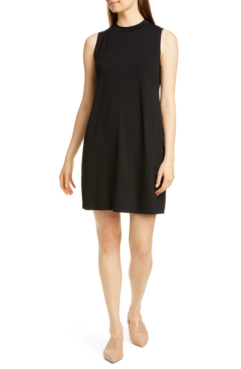 EILEEN FISHER Stretch Tencel<sup>®</sup> Lyocell Shift Dress, Main, color, BLACK