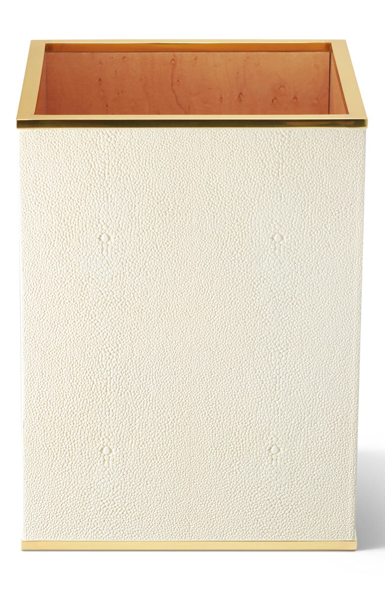AERIN Shagreen Waste Basket, Main, color, CREAM