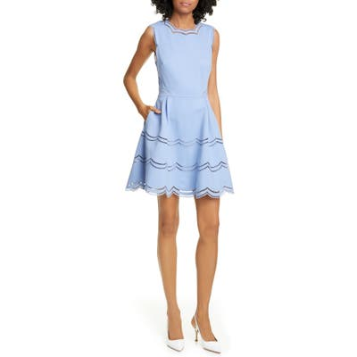Ted Baker London Scalloped Fit & Flare Dress, Blue