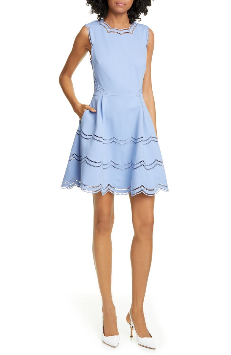 TED BAKER LONDON Scalloped Fit & Flare Dress, Main, color, BLUE