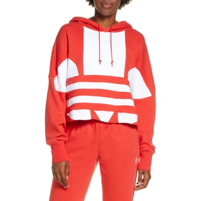 Adidas Originals Big Trefoil Crop Hoodie, Red