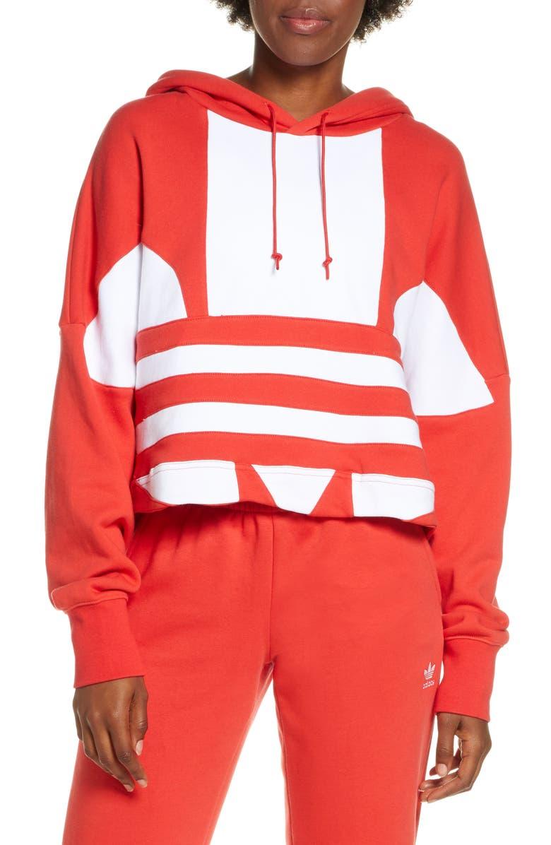 ADIDAS ORIGINALS Big Trefoil Crop Hoodie, Main, color, RED/ WHITE