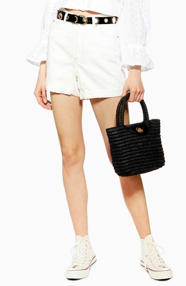 TOPSHOP Roll Hem Denim Mom Shorts, Main, color, WHITE