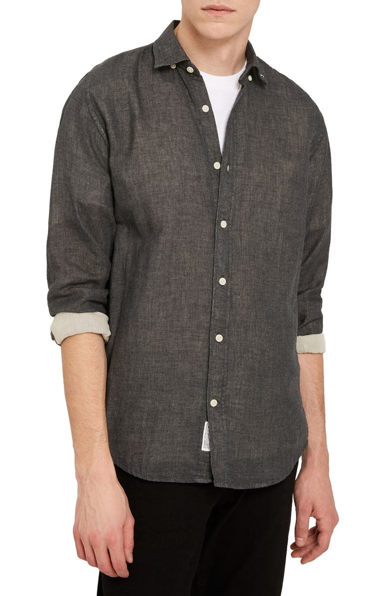 FRANK AND OAK Heathered Button-Down Shirt, Main, color, CHARCOAL HEATHER