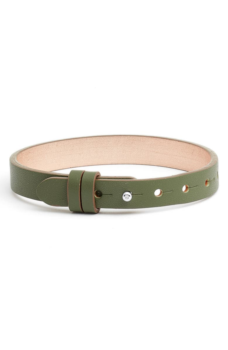 KEEP COLLECTIVE Reversible Leather Band Bracelet, Main, color, OLIVE