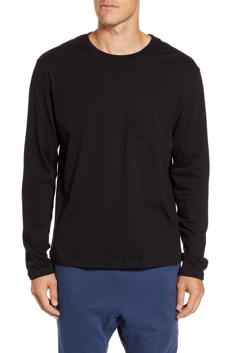 RICHER POORER Cotton Long Sleeve Crewneck T-Shirt, Main, color, BLACK