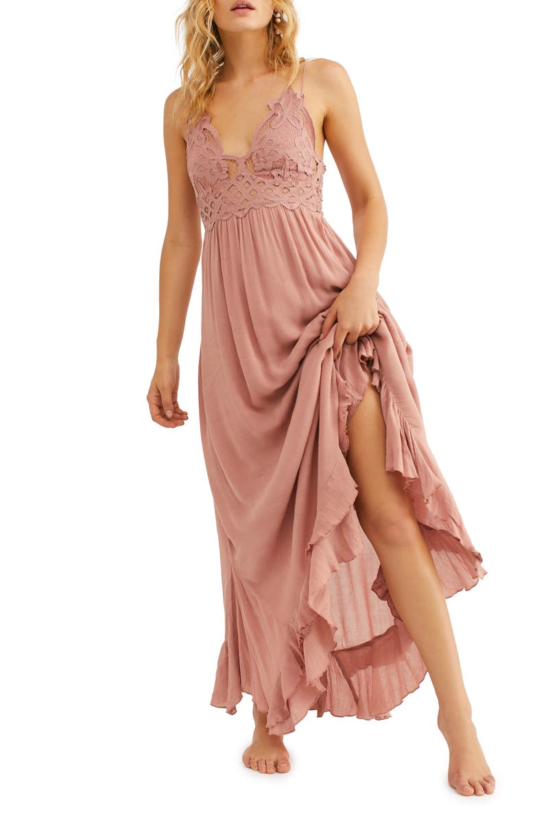 FREE PEOPLE Adella Maxi Slipdress, Main, color, ROSE