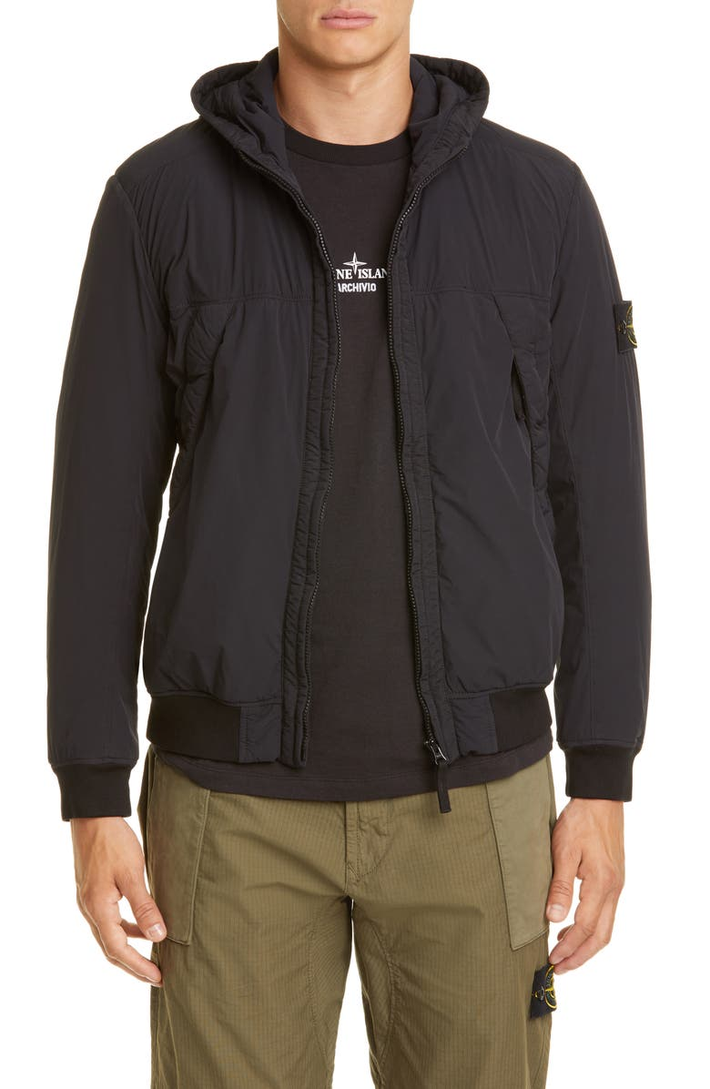 STONE ISLAND Soft Shell Hooded Jacket, Main, color, V0029 BLACK