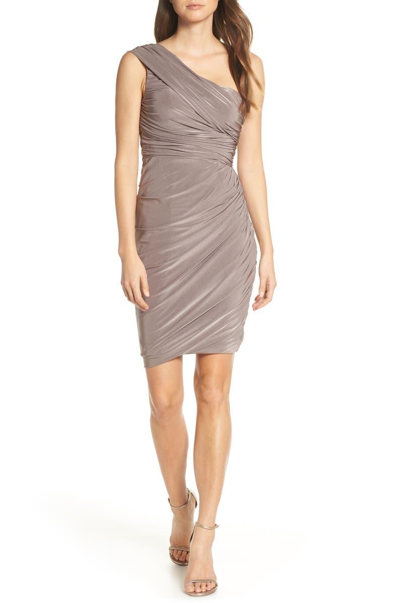 ELIZA J Ruched One-Shoulder Dress, Main, color, TAUPE