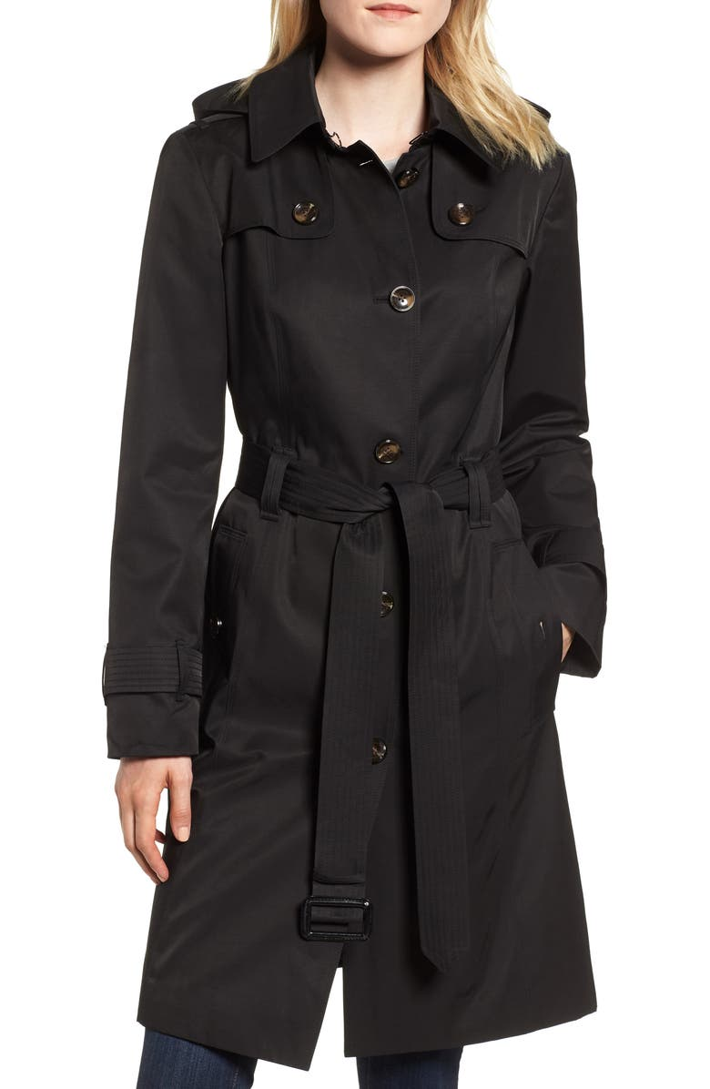 LONDON FOG Knee Length Trench Coat, Main, color, Black