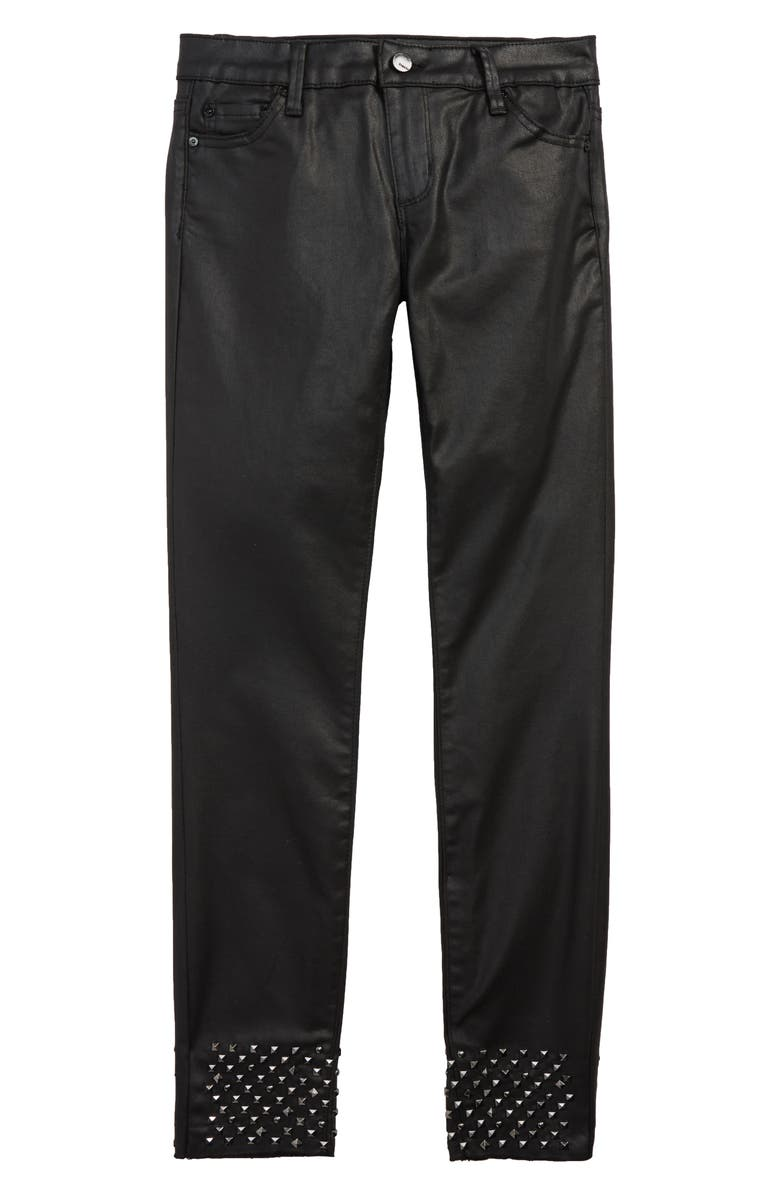 TRACTR Studded Coated Skinny Jeans, Main, color, BLACK