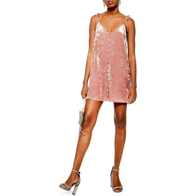 Petite Topshop Glitter Star Crushed Velvet Slipdress, P US (fits like 10-12P) - Pink