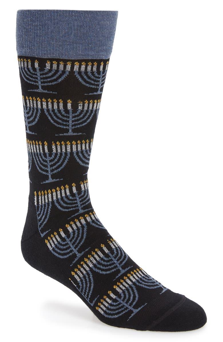 NORDSTROM MEN'S SHOP Holiday Menorah Socks, Main, color, 001