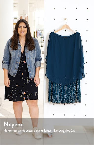 Chiffon Cape Sleeve Cocktail Dress, sales video thumbnail