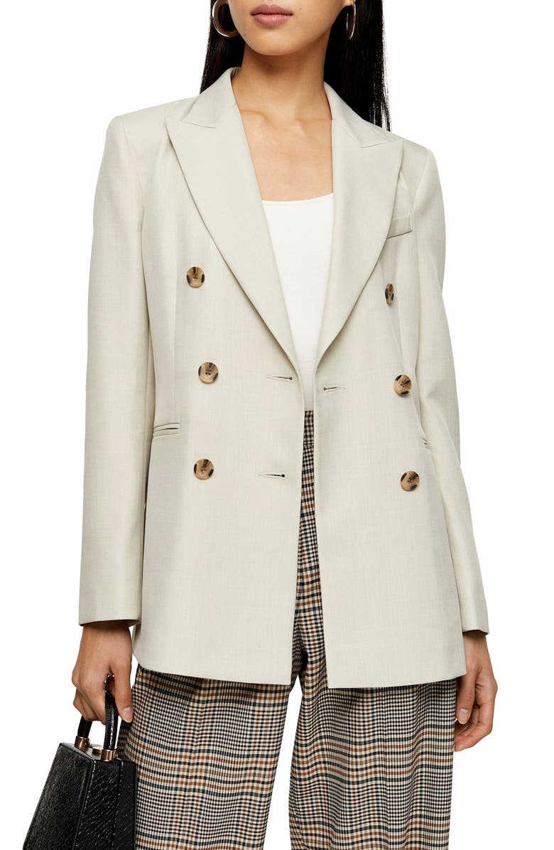 TOPSHOP Double Breasted Blazer, Main, color, 250