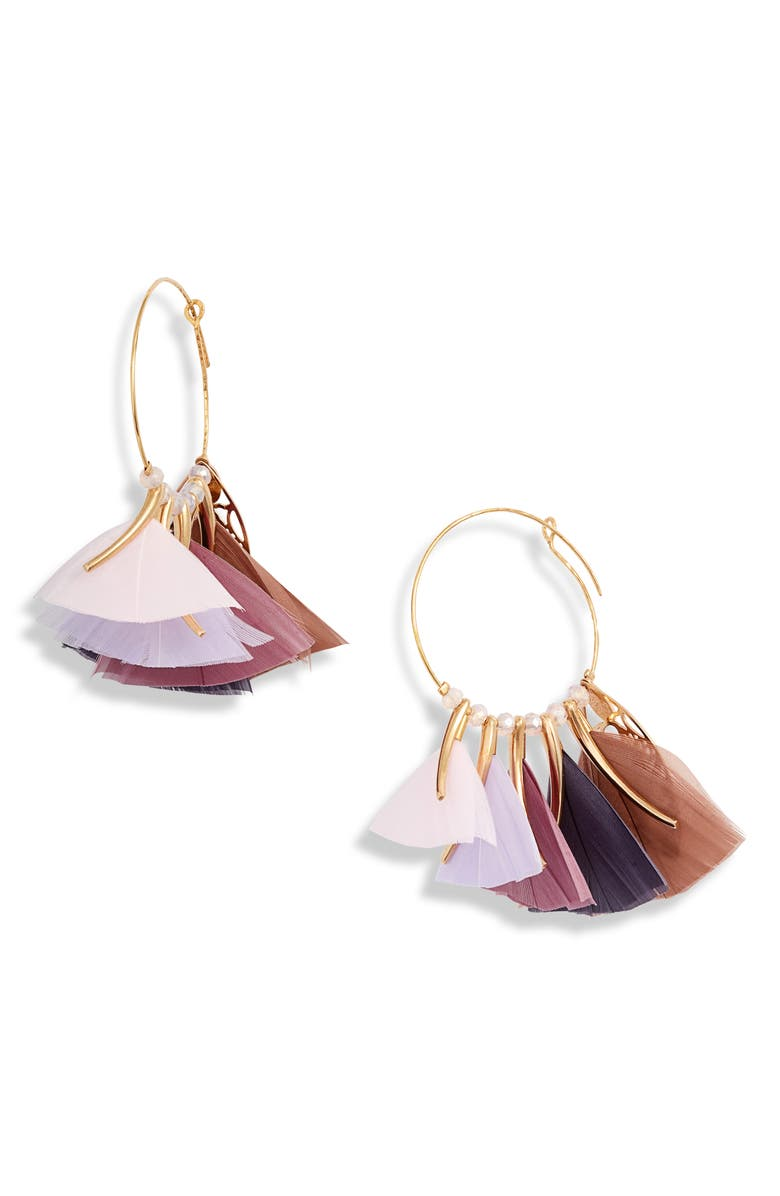 GAS BIJOUX Marly Feather Hoop Earrings, Main, color, MULTI/ PINK