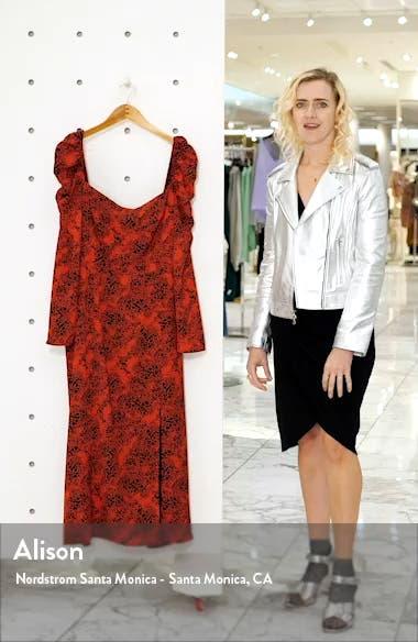 Spatter Print Square Neck Long Sleeve Midi Dress, sales video thumbnail