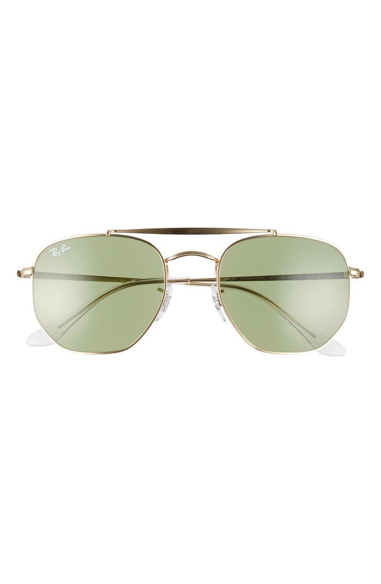RAY-BAN Marshal 54mm Aviator Sunglasses, Main, color, GOLD/ SOLID GREEN