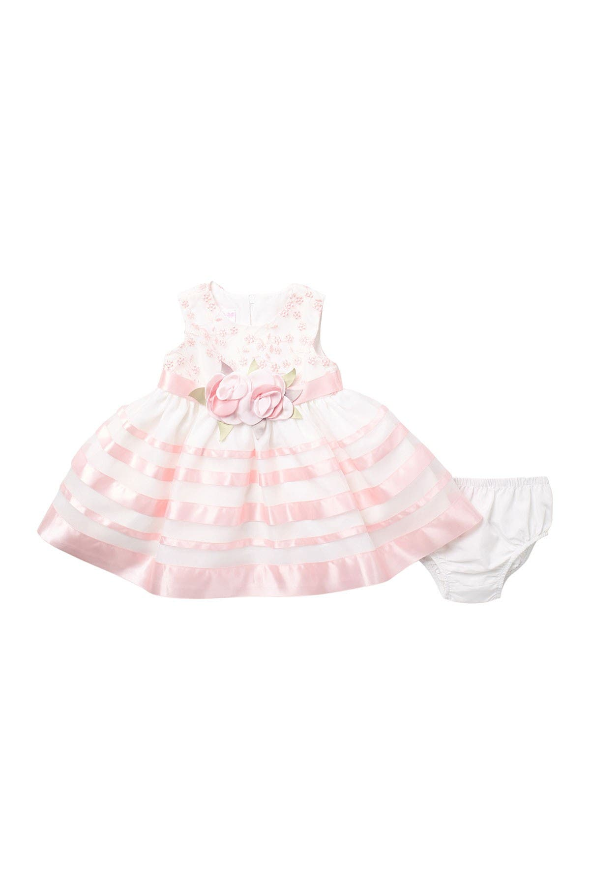 Image of GERSON & GERSON Floral Embroidered Ribbon Dress & Bloomers Set