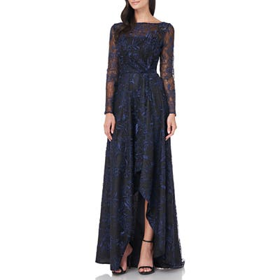 Carmen Marc Valvo Infusion Embroidered Mesh Long Sleeve High/low Gown, Black