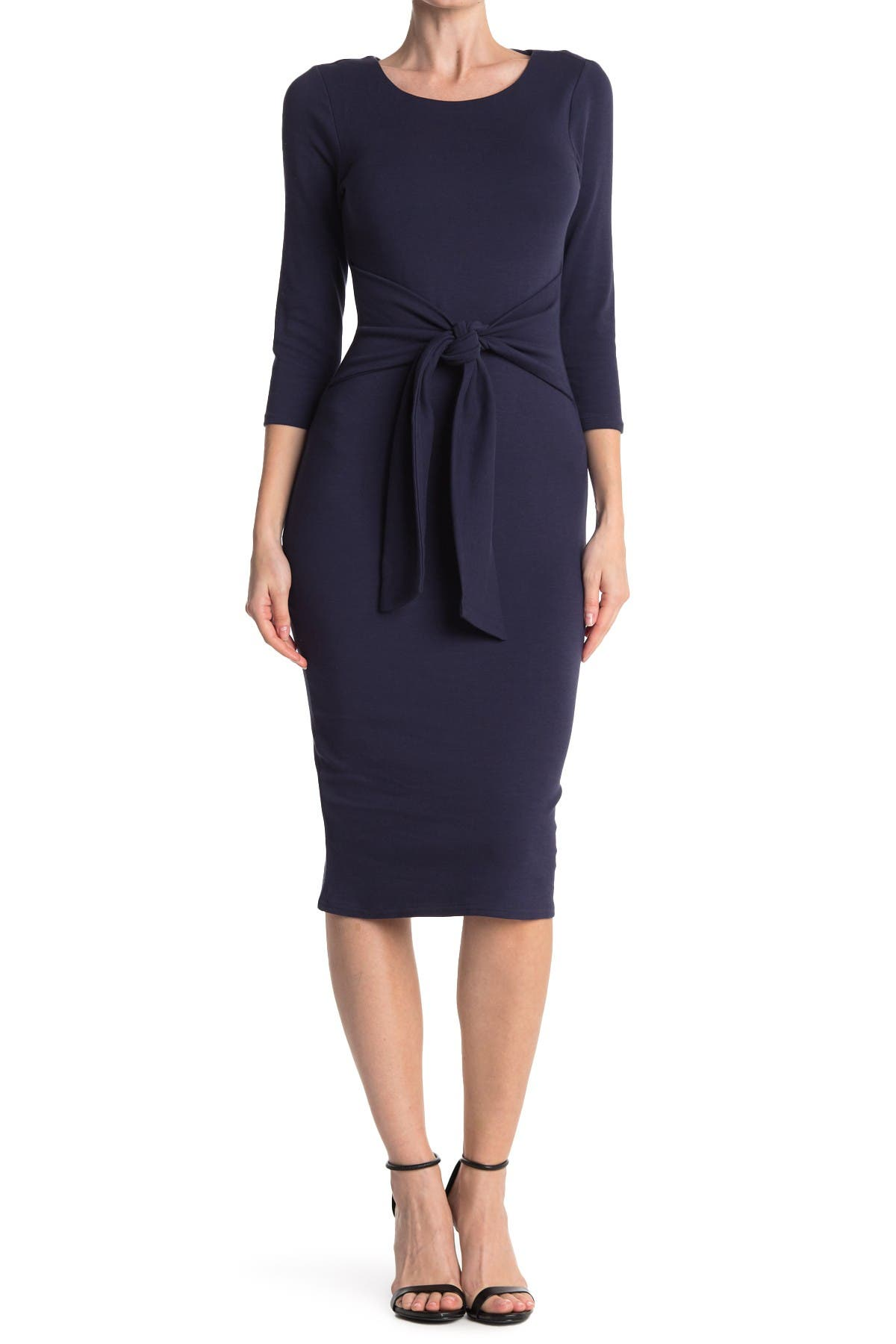 Image of MELLODAY Tie Waist 3/4 Sleeve Midi Sheath Dress