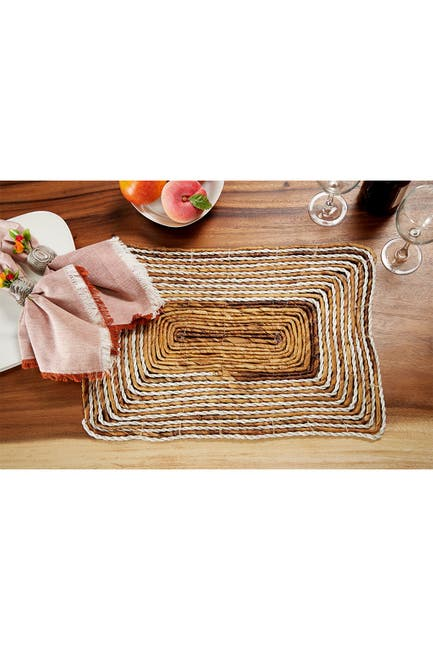 Image of Willow Row Rectangular Striped White & Natural Banana Leaf Wicker Placemats - Set of 4