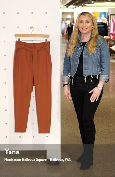 Tie Waist Twill Ankle Pants, sales video thumbnail