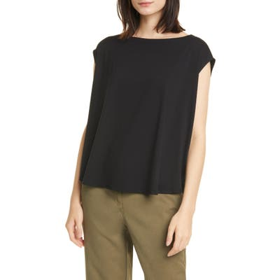 Eileen Fisher Boat Neck Box Top, Black