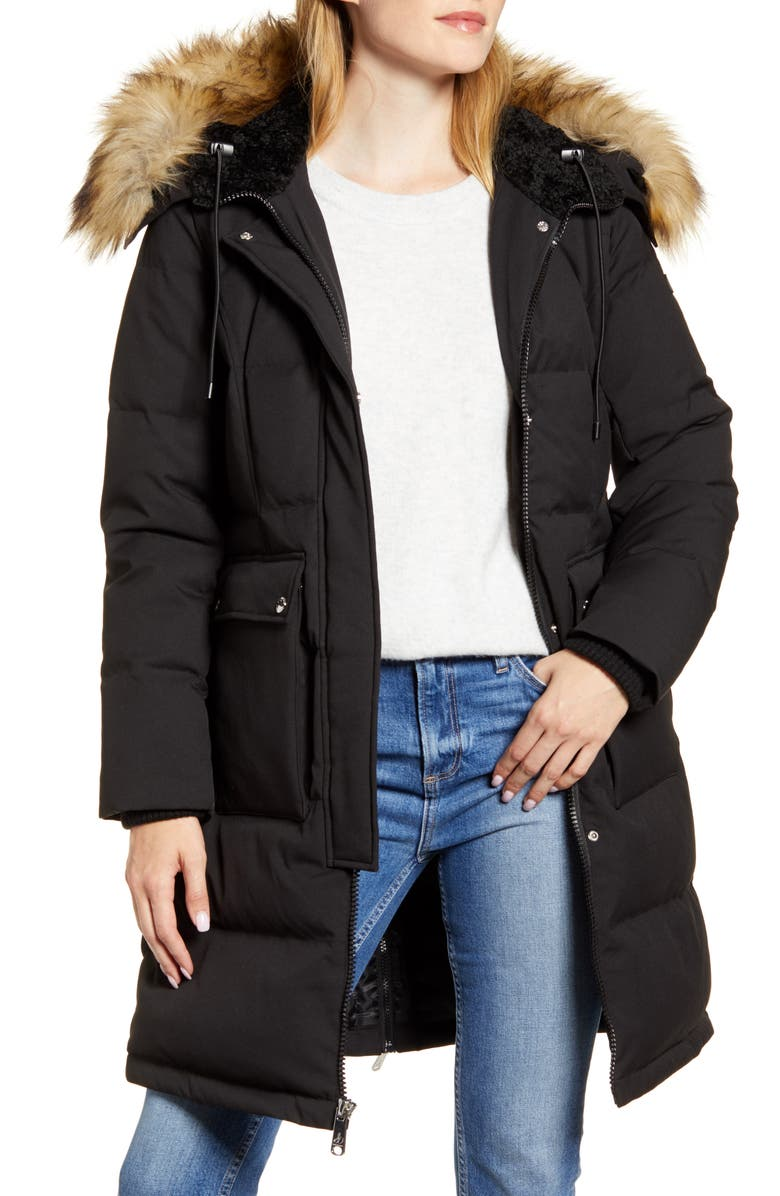 SAM EDELMAN Down & Feather Puffer Coat with Faux Fur Trim, Main, color, BLACK