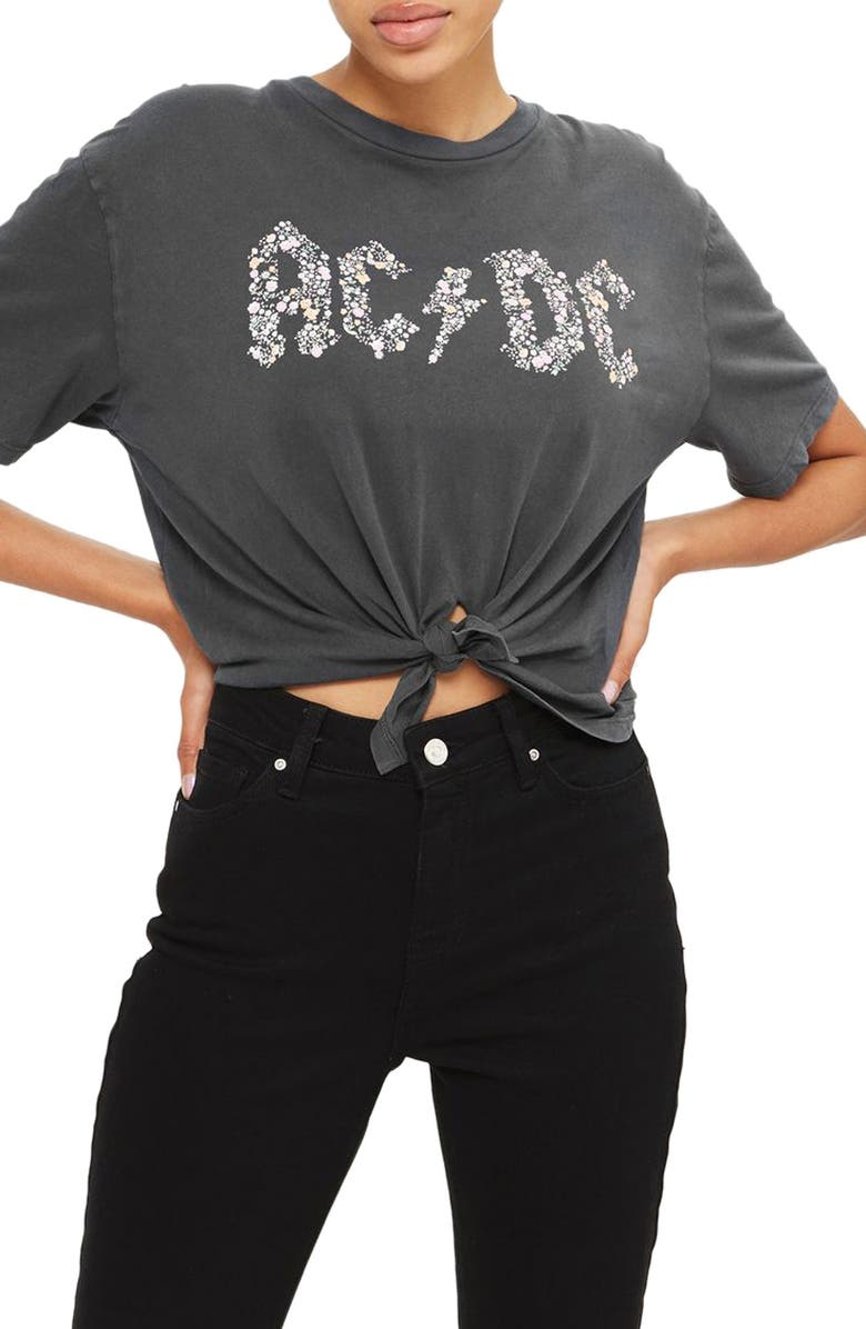 TOPSHOP by And Finally Knot Crop AC/DC Tee, Main, color, 020