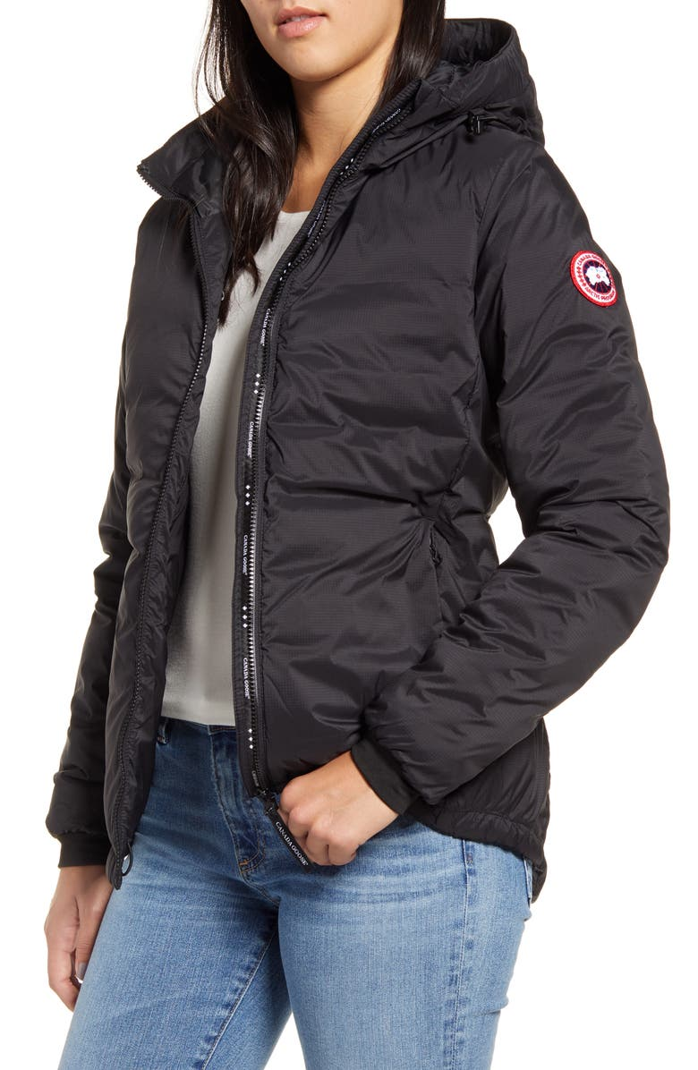 CANADA GOOSE Camp Down Hooded Water Resistant Jacket, Main, color, BLACK