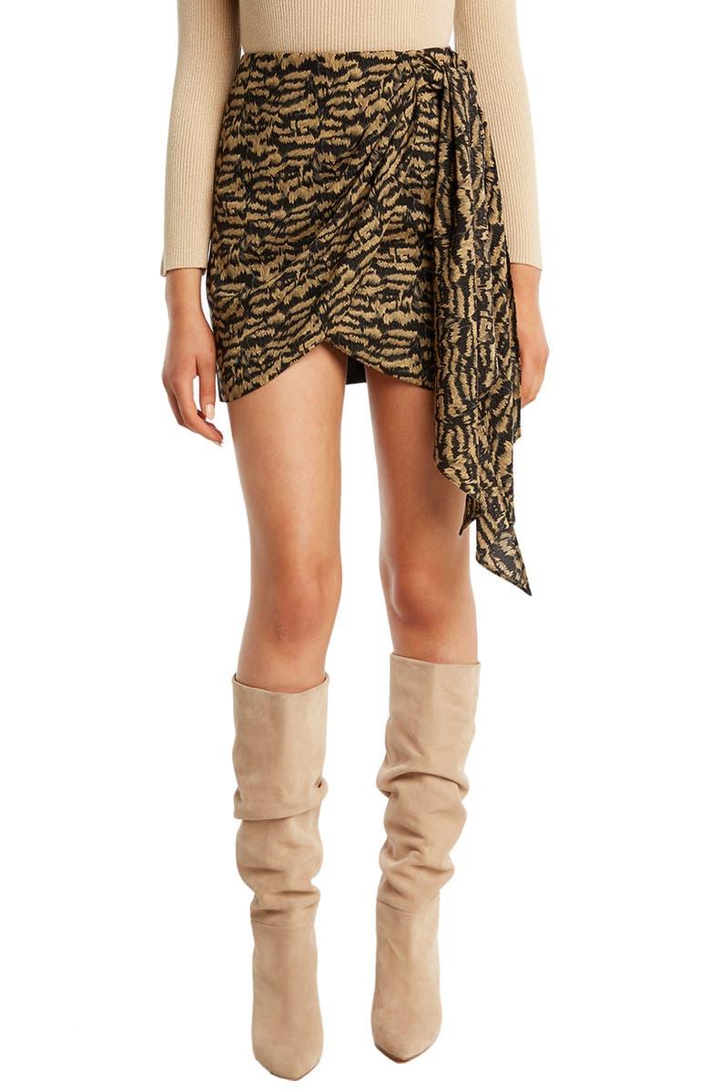 BARDOT Kalia Faux Wrap Miniskirt, Main, color, ANIMAL