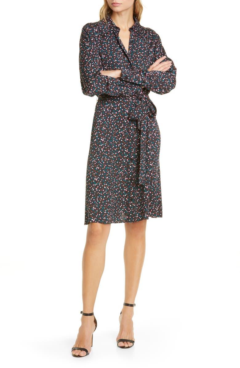 DVF Dory Polka Dot Long Sleeve Stretch Silk Shirtdress, Main, color, 001