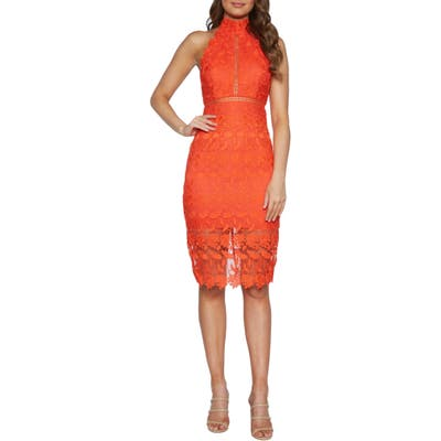 Bardot Noni Lace Halter Dress, Red