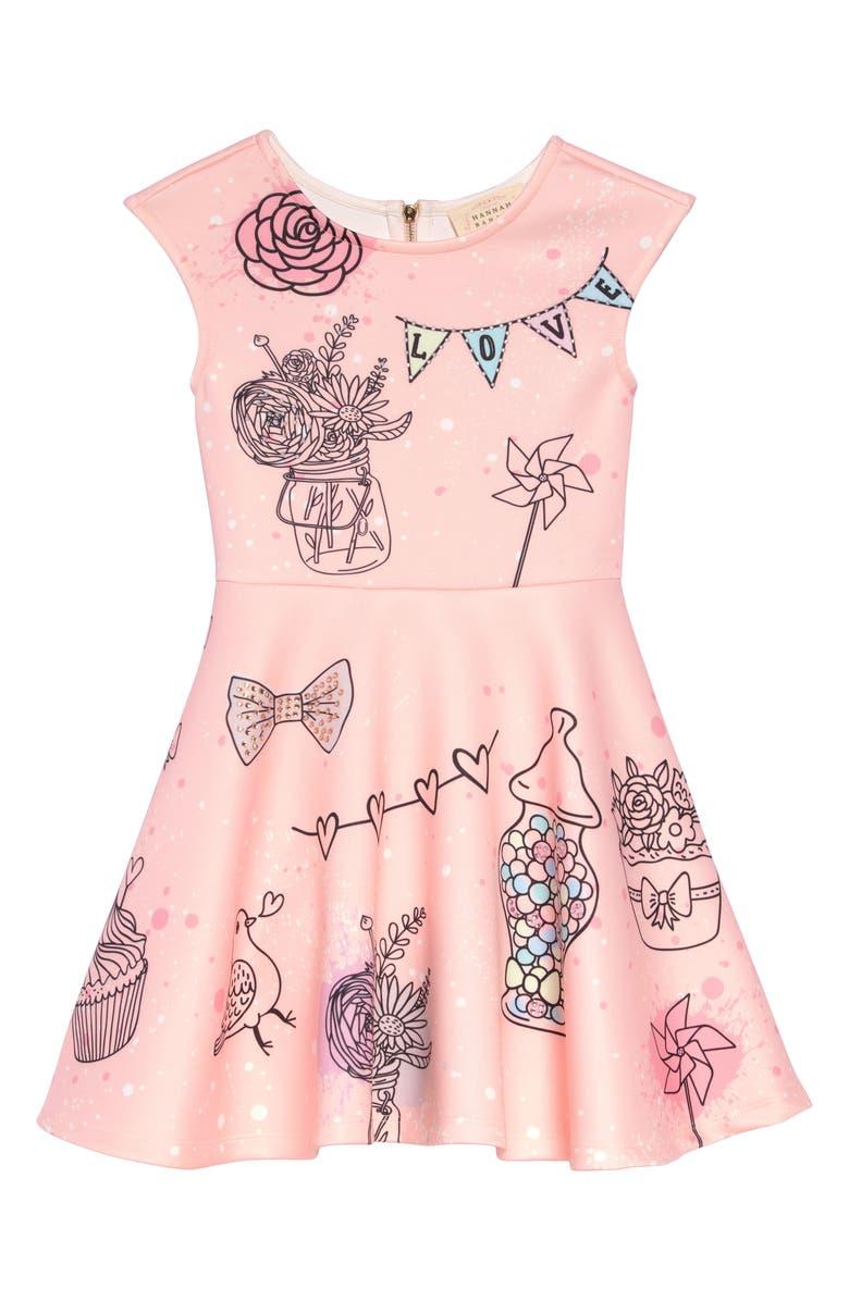 HANNAH BANANA Whimsy Print A-Line Dress, Main, color, 698